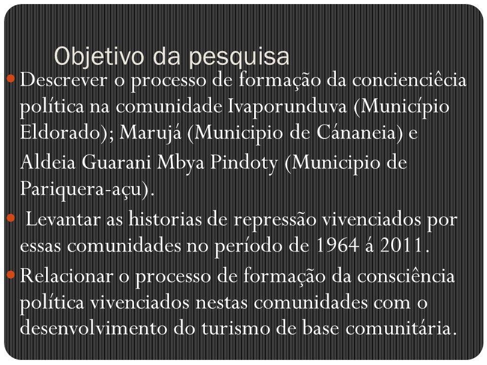 Objetivo da pesquisa Descrever o processo de formação da concienciêcia política na comunidade Ivaporunduva (Município Eldorado); Marujá (Municipio de