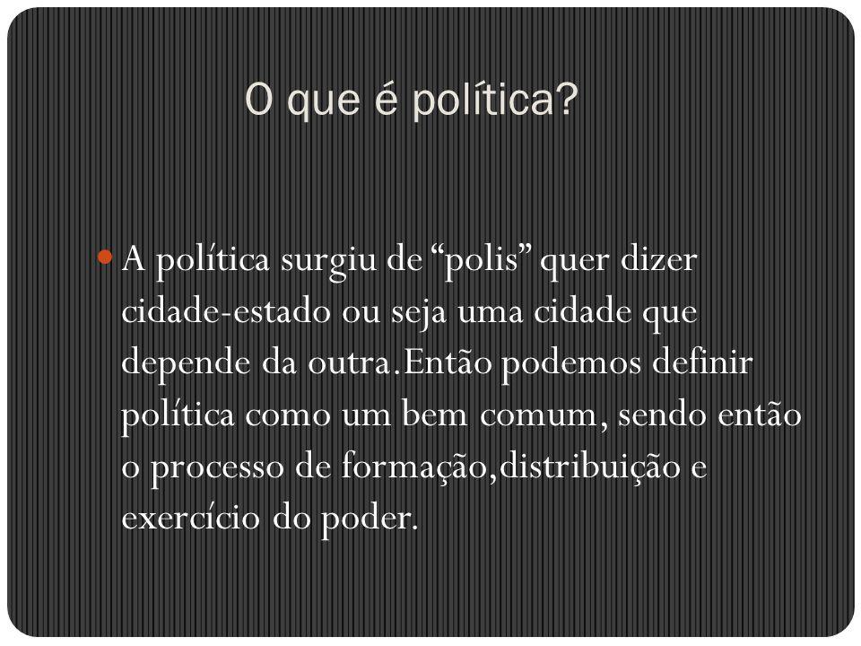 O que é política? A política surgiu de polis quer dizer cidade-estado ou seja uma cidade que depende da outra.Então podemos definir política como um b