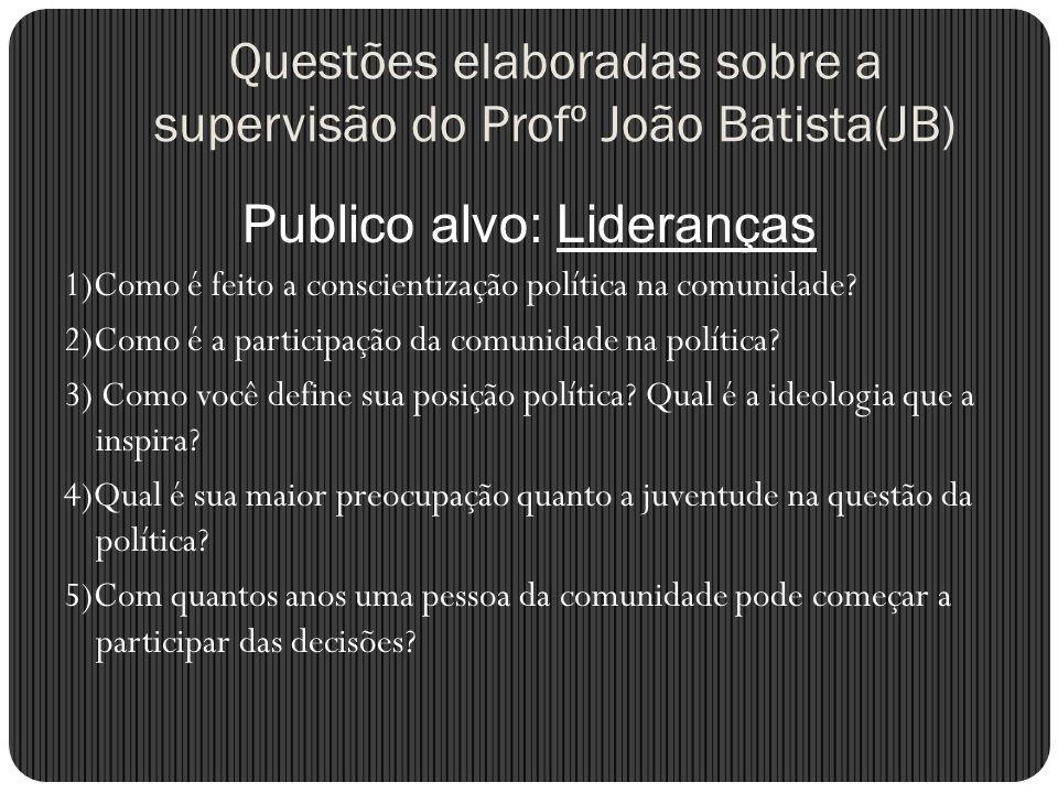 Questões elaboradas sobre a supervisão do Profº João Batista(JB) Publico alvo: Lideranças 1)Como é feito a conscientização política na comunidade? 2)C