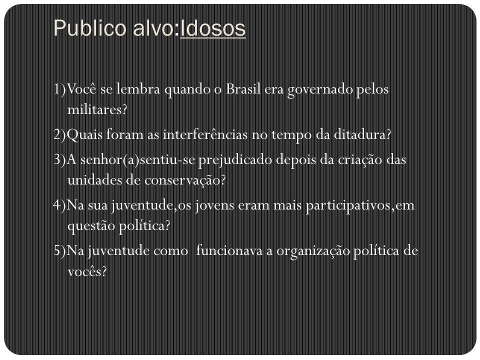 Publico alvo:Idosos 1)Você se lembra quando o Brasil era governado pelos militares? 2)Quais foram as interferências no tempo da ditadura? 3)A senhor(a