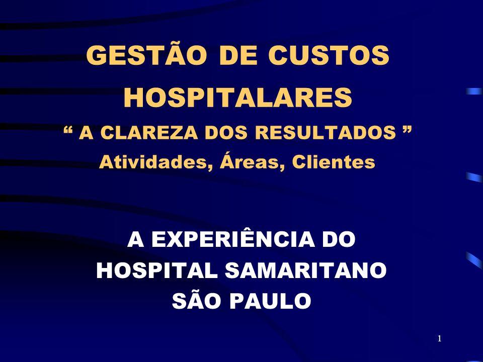 1 GESTÃO DE CUSTOS HOSPITALARES A CLAREZA DOS RESULTADOS Atividades, Áreas, Clientes A EXPERIÊNCIA DO HOSPITAL SAMARITANO SÃO PAULO