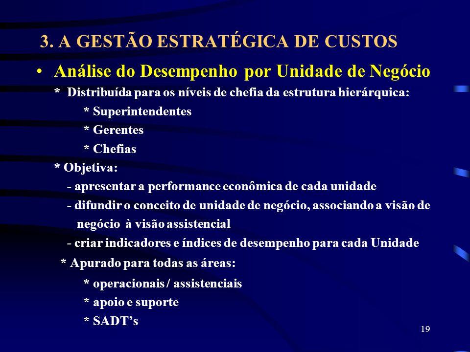 19 3. A GESTÃO ESTRATÉGICA DE CUSTOS Análise do Desempenho por Unidade de Negócio * Distribuída para os níveis de chefia da estrutura hierárquica: * S