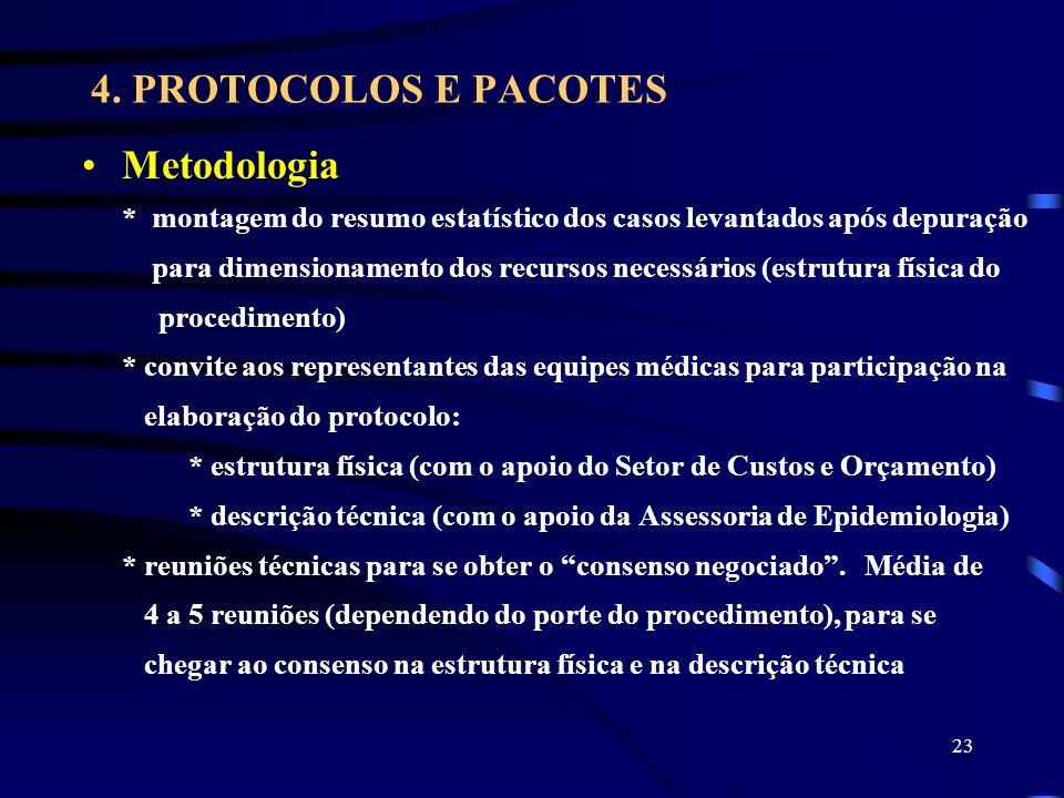 23 4. PROTOCOLOS E PACOTES Metodologia * montagem do resumo estatístico dos casos levantados após depuração para dimensionamento dos recursos necessár