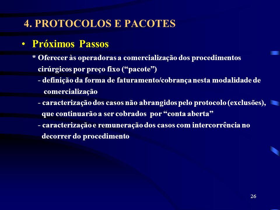 26 4. PROTOCOLOS E PACOTES Próximos Passos * Oferecer às operadoras a comercialização dos procedimentos cirúrgicos por preço fixo (pacote) - definição
