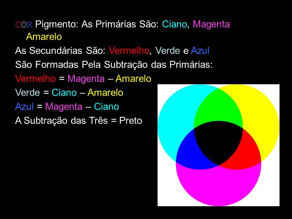 COR Pigmento: As Primárias São: Ciano, Magenta e Amarelo As Secundárias São: Vermelho, Verde e Azul São Formadas Pela Subtração das Primárias: Vermelh
