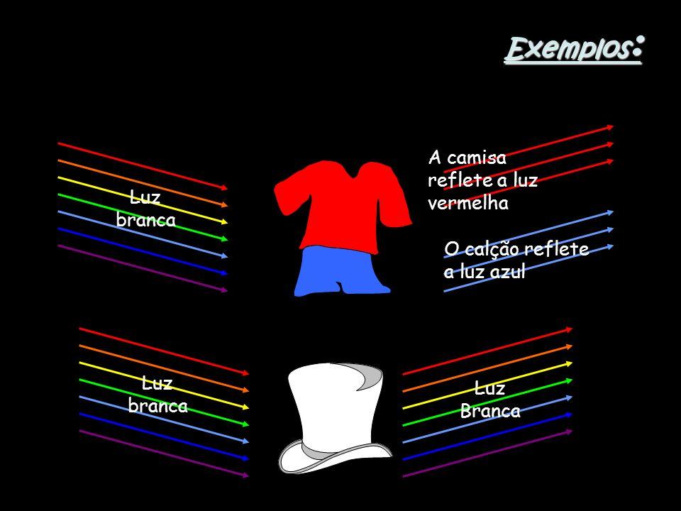 Exemplos : Luz branca A camisa reflete a luz vermelha Luz Branca O calção reflete a luz azul Luz branca