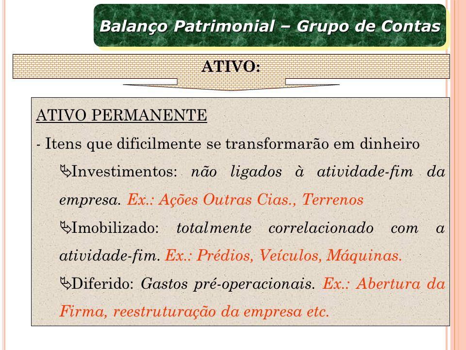 ATIVO PERMANENTE - Itens que dificilmente se transformarão em dinheiro Investimentos: não ligados à atividade-fim da empresa. Ex.: Ações Outras Cias.,
