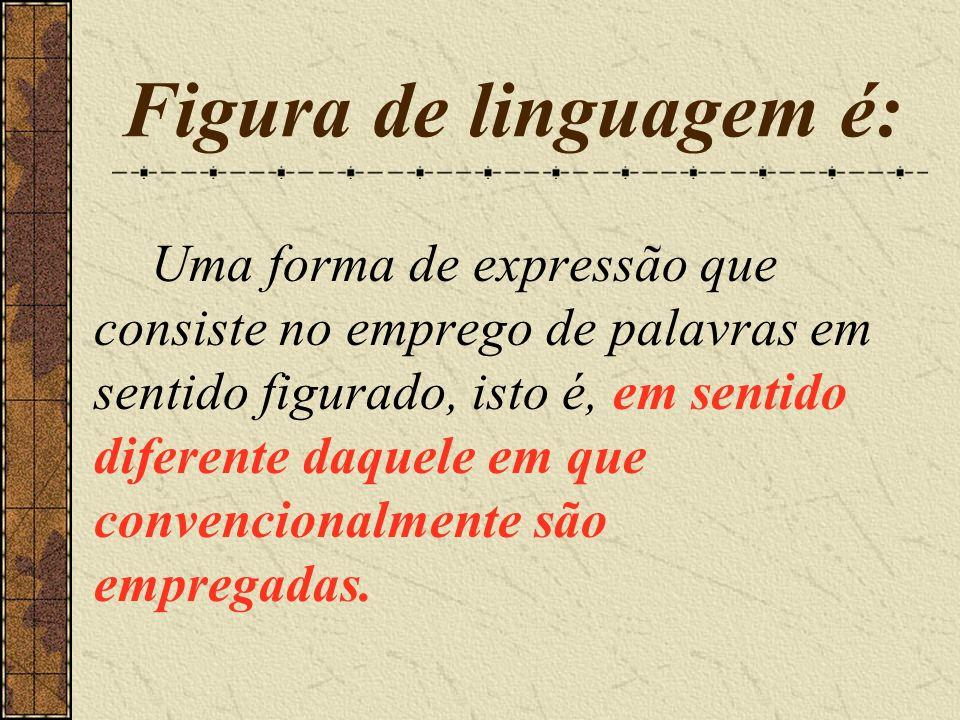 Figura de linguagem é: Uma forma de expressão que consiste no emprego de palavras em sentido figurado, isto é, em sentido diferente daquele em que con