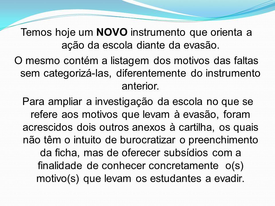 Temos hoje um NOVO instrumento que orienta a ação da escola diante da evasão. O mesmo contém a listagem dos motivos das faltas sem categorizá-las, dif