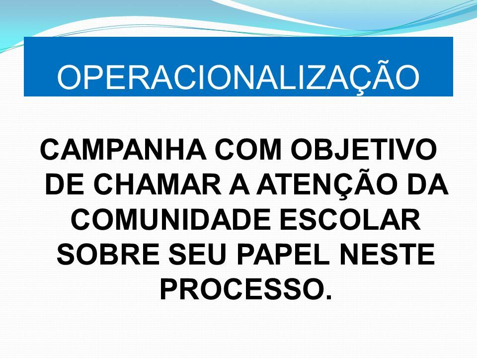 OPERACIONALIZAÇÃO CAMPANHA COM OBJETIVO DE CHAMAR A ATENÇÃO DA COMUNIDADE ESCOLAR SOBRE SEU PAPEL NESTE PROCESSO.