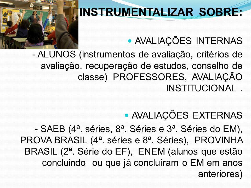 INSTRUMENTALIZAR SOBRE: AVALIAÇÕES INTERNAS - ALUNOS (instrumentos de avaliação, critérios de avaliação, recuperação de estudos, conselho de classe) P