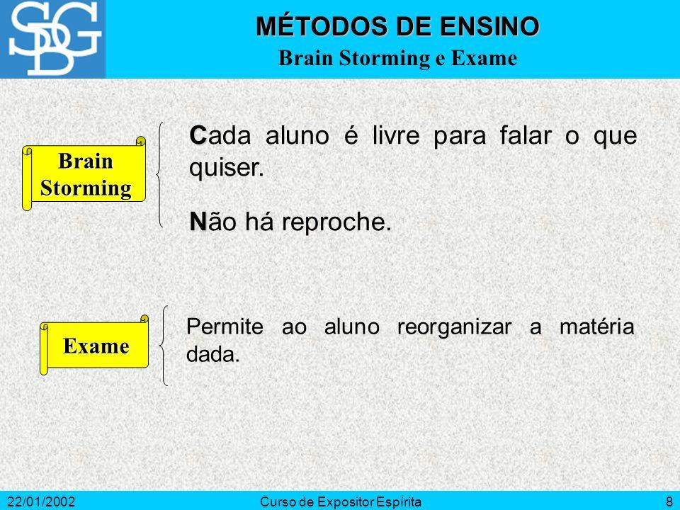 22/01/2002Curso de Expositor Espírita8 C Cada aluno é livre para falar o que quiser.