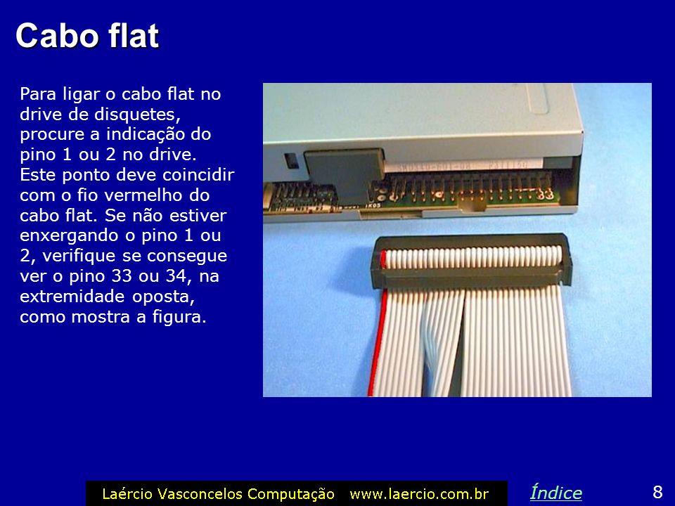 Conectando os cabos 7 Índice Detalhes da conexão do cabo flat e da fonte de alimentação no drive de disquetes.