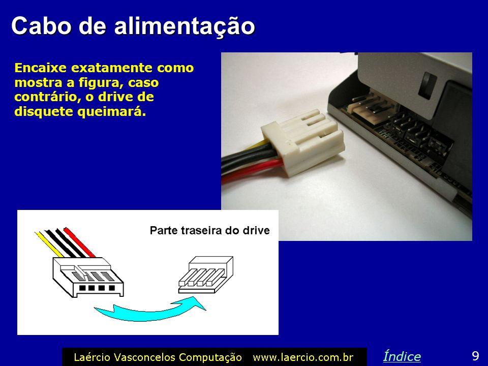 Cabo flat Para ligar o cabo flat no drive de disquetes, procure a indicação do pino 1 ou 2 no drive. Este ponto deve coincidir com o fio vermelho do c