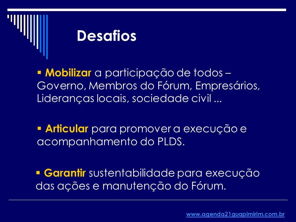 Desafios Mobilizar a participação de todos – Governo, Membros do Fórum, Empresários, Lideranças locais, sociedade civil... Articular para promover a e