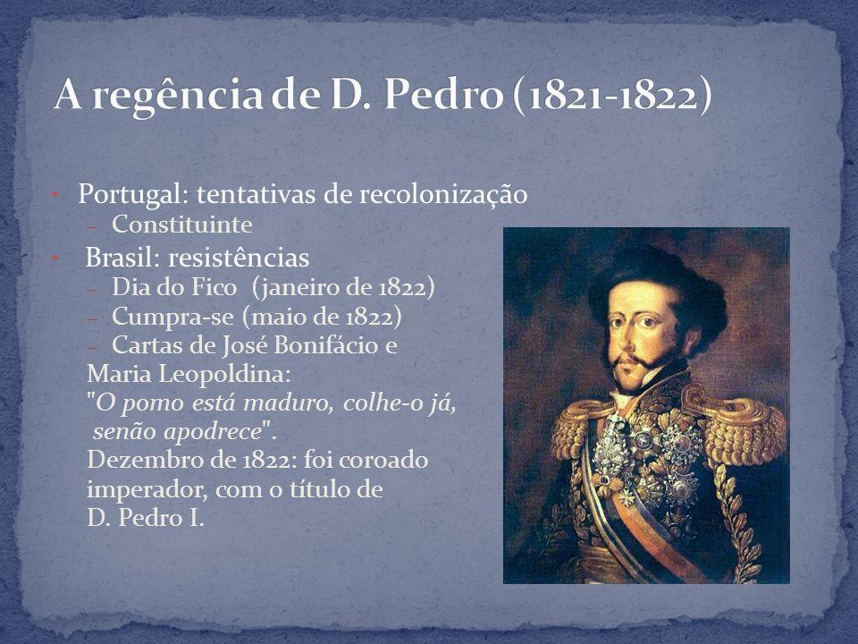 Portugal: tentativas de recolonização – Constituinte Brasil: resistências – Dia do Fico (janeiro de 1822) – Cumpra-se (maio de 1822) – Cartas de José