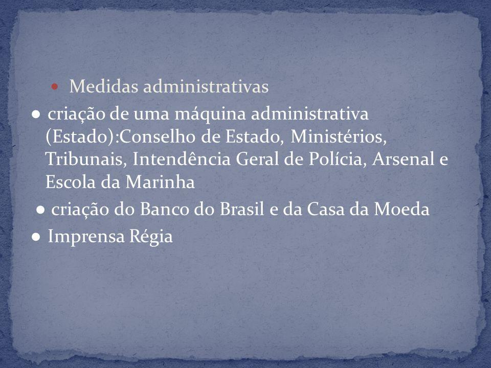 Medidas administrativas criação de uma máquina administrativa (Estado):Conselho de Estado, Ministérios, Tribunais, Intendência Geral de Polícia, Arsen