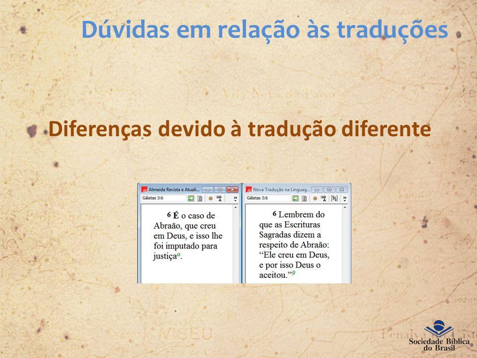 Dúvidas em relação às traduções Diferenças devido à tradução diferente