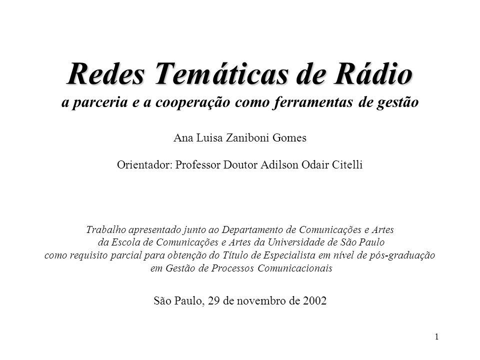 1 Redes Temáticas de Rádio Redes Temáticas de Rádio a parceria e a cooperação como ferramentas de gestão Ana Luisa Zaniboni Gomes Orientador: Professo