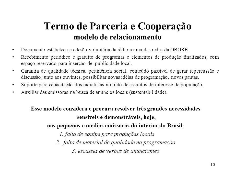 10 Termo de Parceria e Cooperação modelo de relacionamento Documento estabelece a adesão voluntária da rádio a uma das redes da OBORÉ. Recebimento per