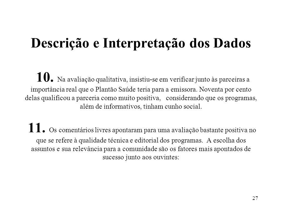 27 Descrição e Interpretação dos Dados 10. Na avaliação qualitativa, insistiu-se em verificar junto às parceiras a importância real que o Plantão Saúd