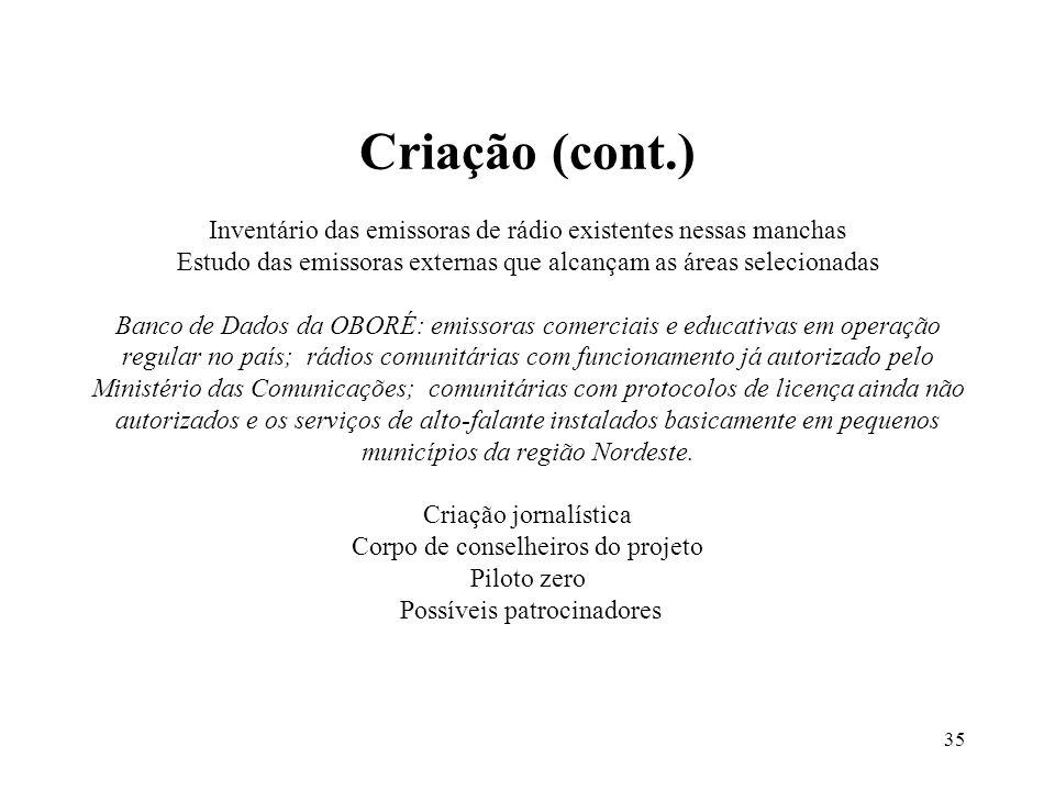 35 Criação (cont.) Inventário das emissoras de rádio existentes nessas manchas Estudo das emissoras externas que alcançam as áreas selecionadas Banco