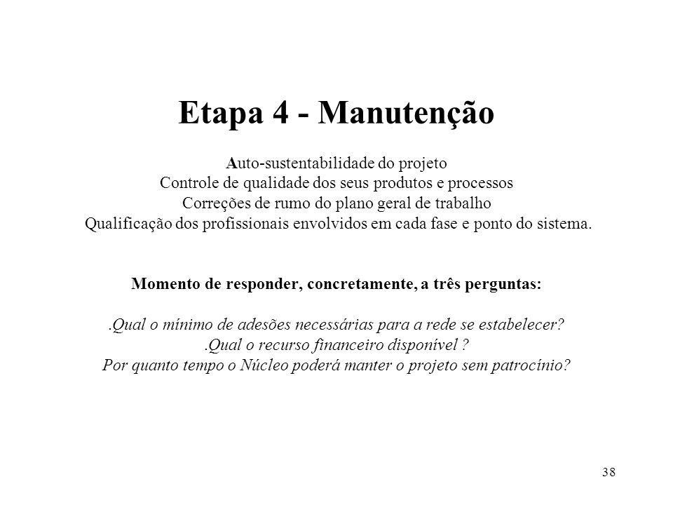 38 Etapa 4 - Manutenção Auto-sustentabilidade do projeto Controle de qualidade dos seus produtos e processos Correções de rumo do plano geral de traba