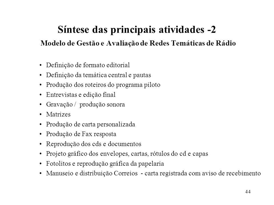 44 Síntese das principais atividades -2 Modelo de Gestão e Avaliação de Redes Temáticas de Rádio Definição de formato editorial Definição da temática