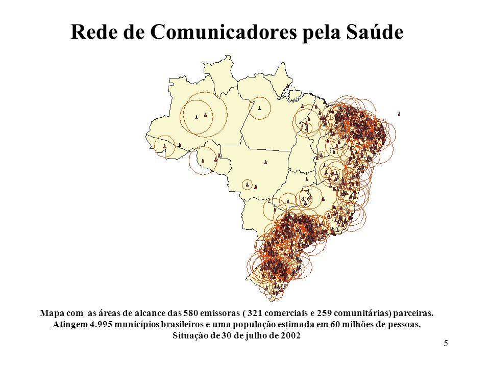 5 Rede de Comunicadores pela Saúde Mapa com as áreas de alcance das 580 emissoras ( 321 comerciais e 259 comunitárias) parceiras. Atingem 4.995 municí