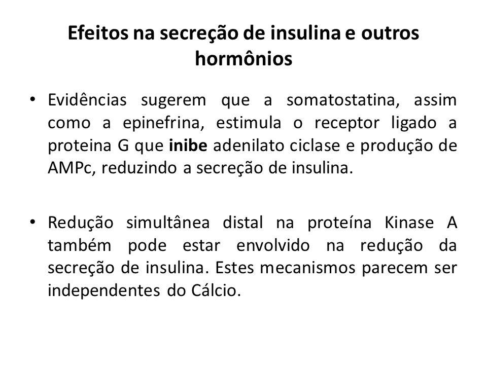 Efeitos na secreção de insulina e outros hormônios Evidências sugerem que a somatostatina, assim como a epinefrina, estimula o receptor ligado a prote