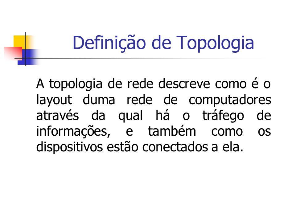 Definição de Topologia A topologia de rede descreve como é o layout duma rede de computadores através da qual há o tráfego de informações, e também co