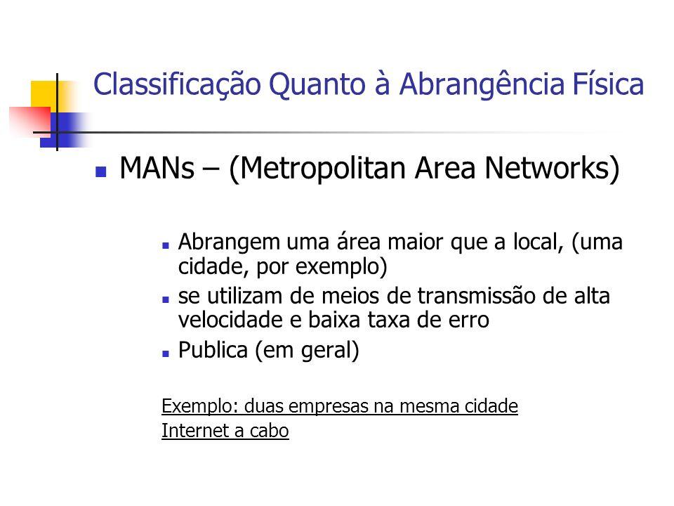 MANs – (Metropolitan Area Networks) Abrangem uma área maior que a local, (uma cidade, por exemplo) se utilizam de meios de transmissão de alta velocid