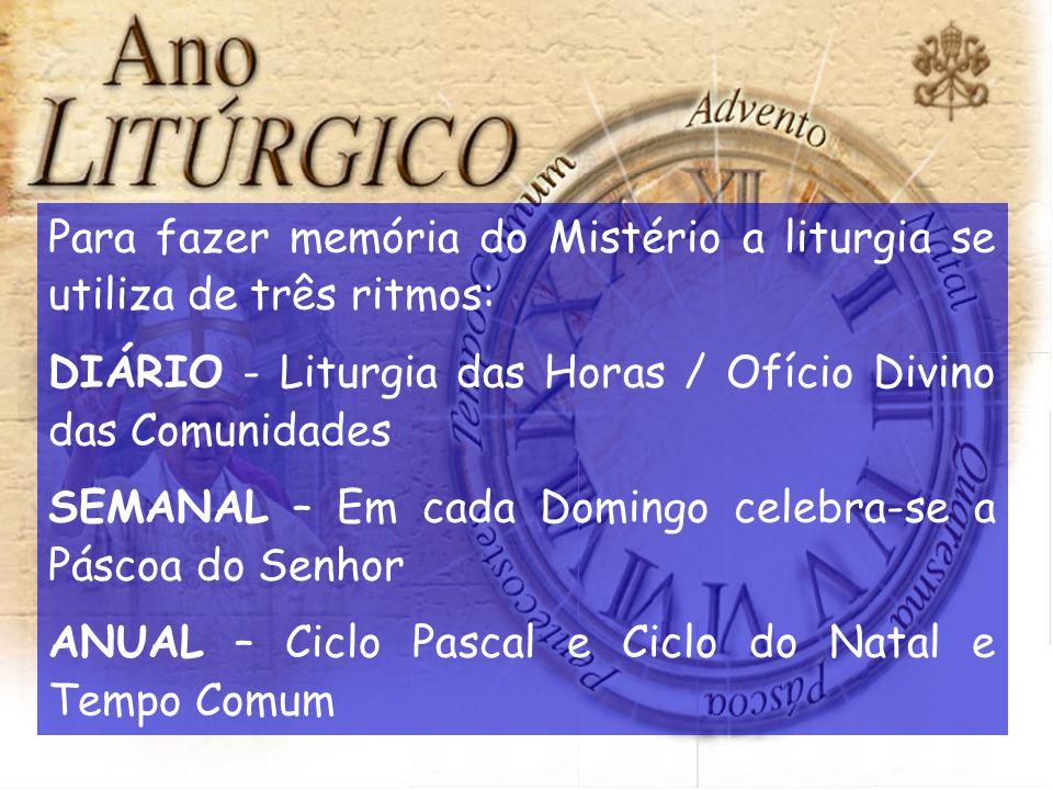 Para fazer memória do Mistério a liturgia se utiliza de três ritmos: DIÁRIO - Liturgia das Horas / Ofício Divino das Comunidades SEMANAL – Em cada Dom