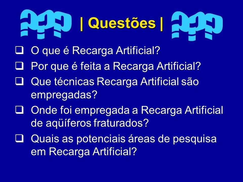 | Questões | O que é Recarga Artificial? Por que é feita a Recarga Artificial? Que técnicas Recarga Artificial são empregadas? Onde foi empregada a Re