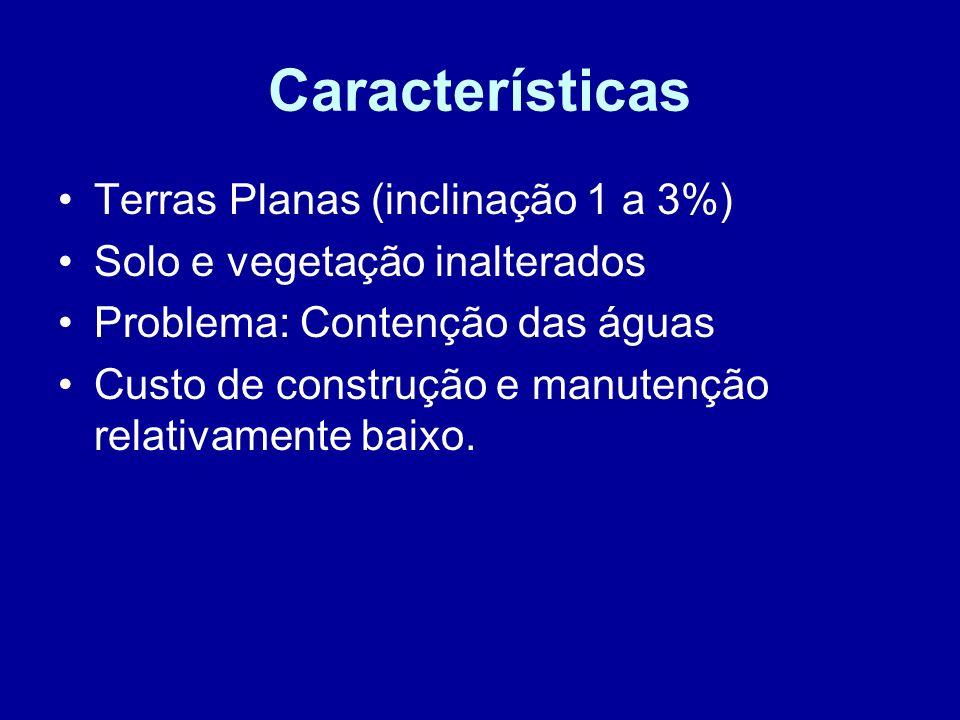 Características Terras Planas (inclinação 1 a 3%) Solo e vegetação inalterados Problema: Contenção das águas Custo de construção e manutenção relativa