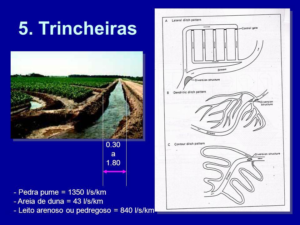 5. Trincheiras 0.30 a 1.80 - Pedra pume = 1350 l/s/km - Areia de duna = 43 l/s/km - Leito arenoso ou pedregoso = 840 l/s/km