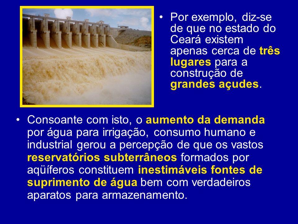 Por exemplo, diz-se de que no estado do Ceará existem apenas cerca de três lugares para a construção de grandes açudes. Consoante com isto, o aumento