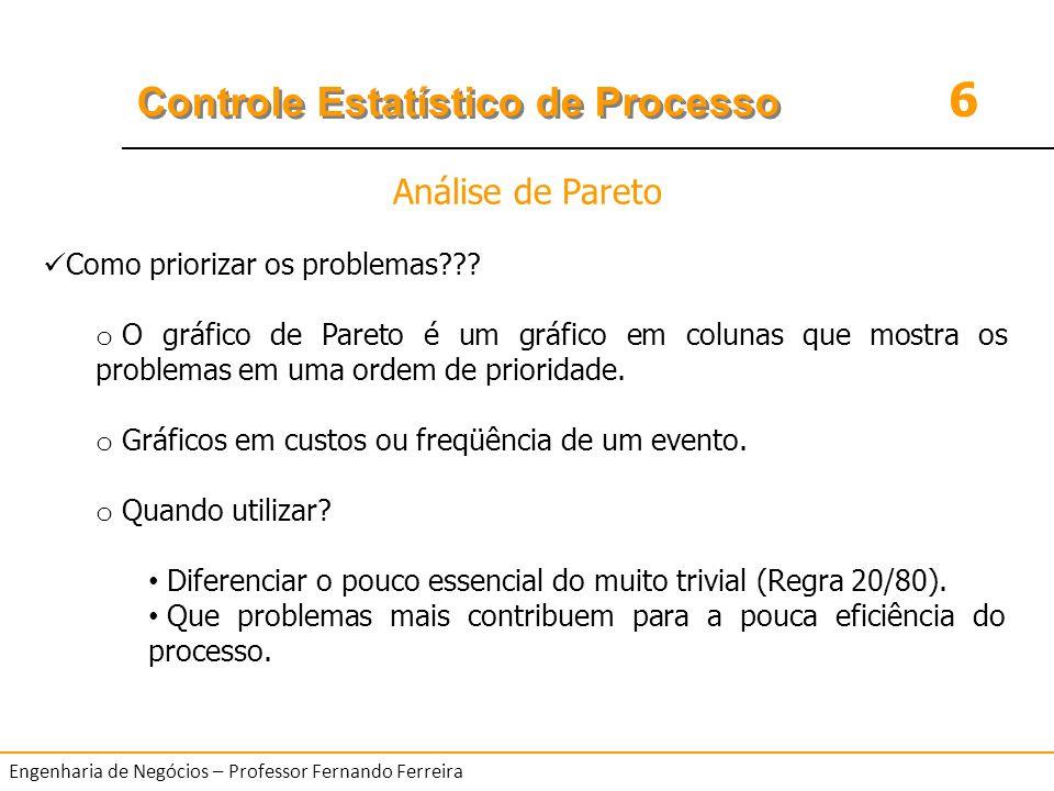 6 Controle Estatístico de Processo Engenharia de Negócios – Professor Fernando Ferreira Como priorizar os problemas??? o O gráfico de Pareto é um gráf