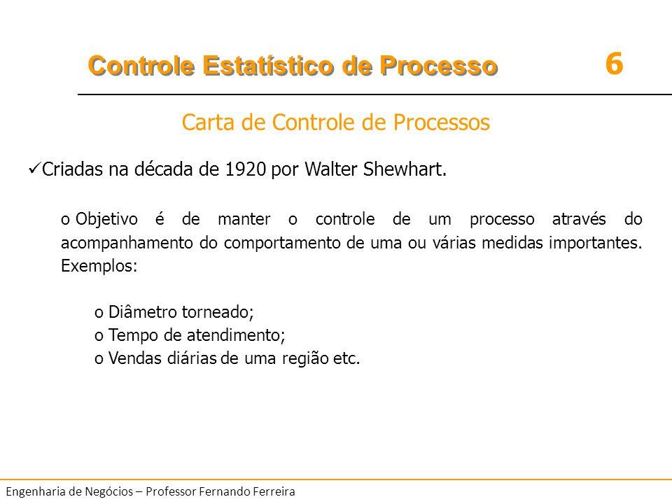 6 Controle Estatístico de Processo Engenharia de Negócios – Professor Fernando Ferreira Criadas na década de 1920 por Walter Shewhart. o Objetivo é de