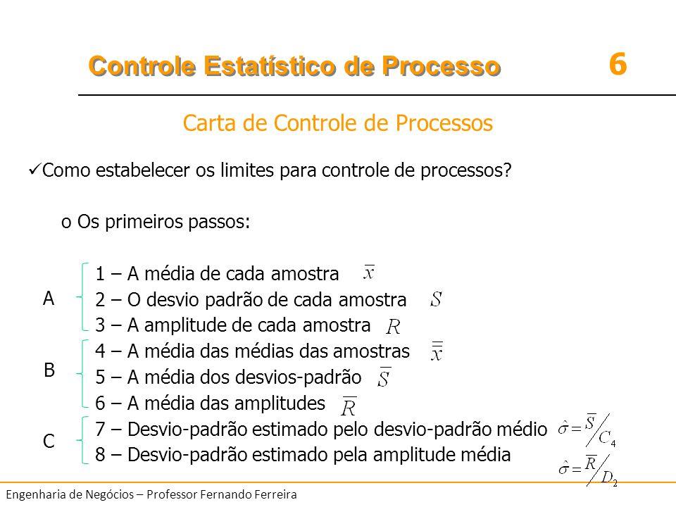 6 Controle Estatístico de Processo Engenharia de Negócios – Professor Fernando Ferreira Como estabelecer os limites para controle de processos? o Os p