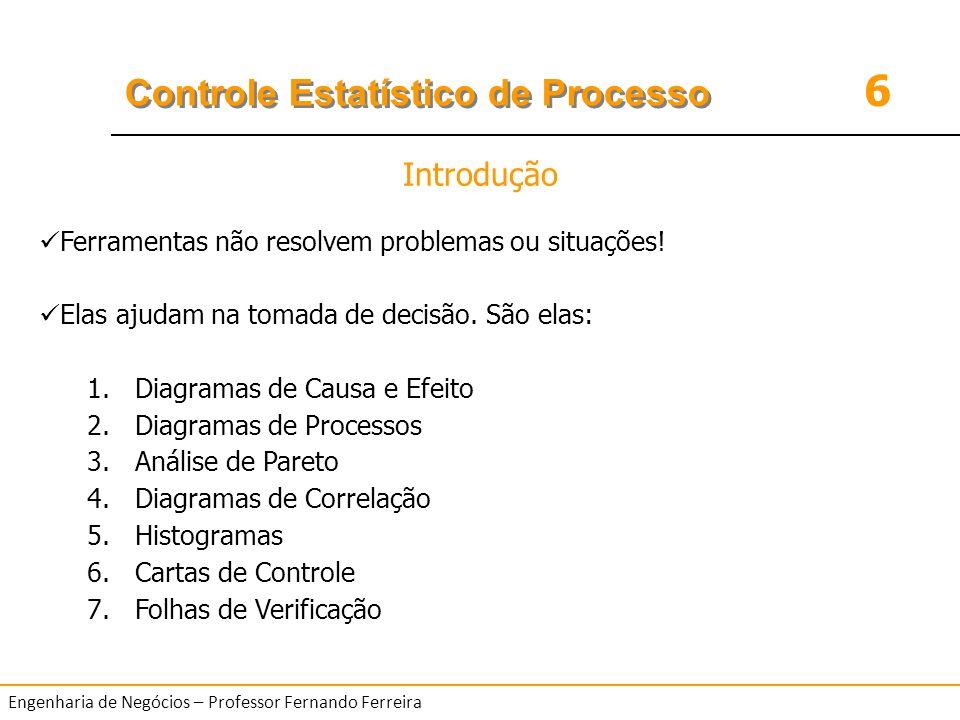6 Controle Estatístico de Processo Engenharia de Negócios – Professor Fernando Ferreira EXEMPLO o Use a análise de Pareto para examinar os seguintes dados coletados na linha de montagem de um placa de circuito impresso.