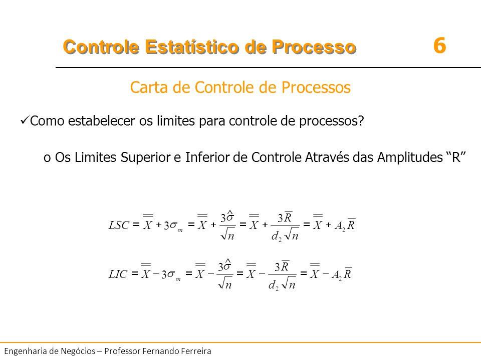 6 Controle Estatístico de Processo Engenharia de Negócios – Professor Fernando Ferreira Como estabelecer os limites para controle de processos? o Os L