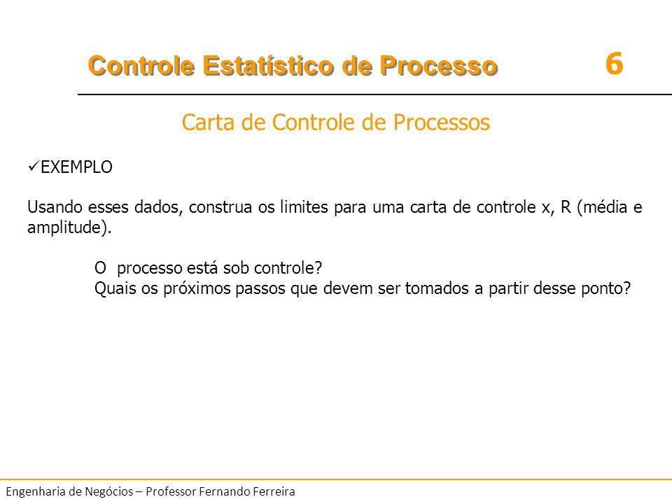 6 Controle Estatístico de Processo Engenharia de Negócios – Professor Fernando Ferreira EXEMPLO Usando esses dados, construa os limites para uma carta