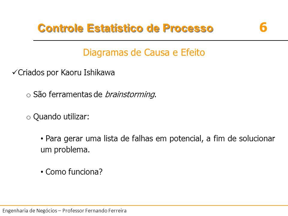 6 Controle Estatístico de Processo Engenharia de Negócios – Professor Fernando Ferreira EXERCÍCIO o Leia o texto sobre um problema pelo qual passa a British Airways e, em seguida, monte um diagrama de causa e efeito sobre este problema.
