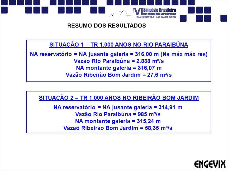 RESUMO DOS RESULTADOS SITUAÇÃO 1 – TR 1.000 ANOS NO RIO PARAIBÚNA NA reservatório = NA jusante galeria = 316,00 m (Na máx máx res) Vazão Rio Paraibúna