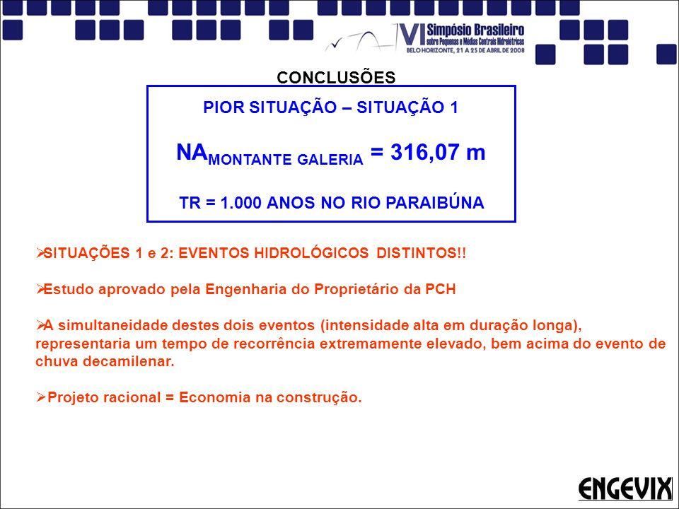 CONCLUSÕES PIOR SITUAÇÃO – SITUAÇÃO 1 NA MONTANTE GALERIA = 316,07 m TR = 1.000 ANOS NO RIO PARAIBÚNA SITUAÇÕES 1 e 2: EVENTOS HIDROLÓGICOS DISTINTOS!