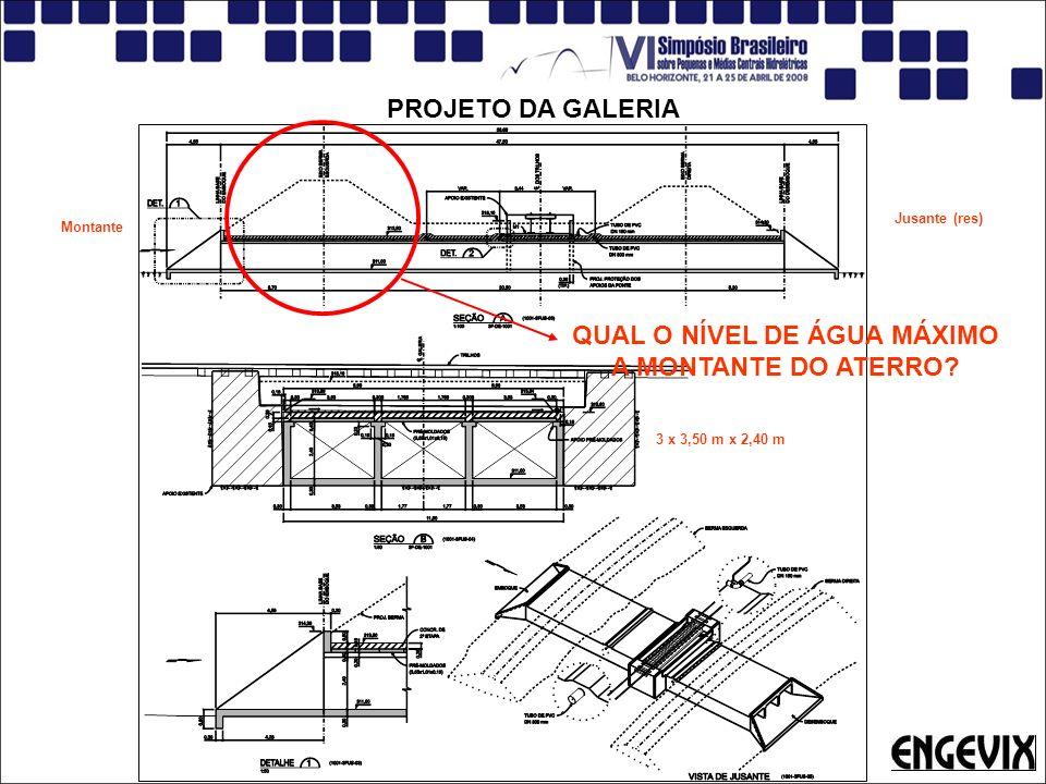 PROJETO DA GALERIA QUAL O NÍVEL DE ÁGUA MÁXIMO A MONTANTE DO ATERRO? 3 x 3,50 m x 2,40 m Jusante (res) Montante