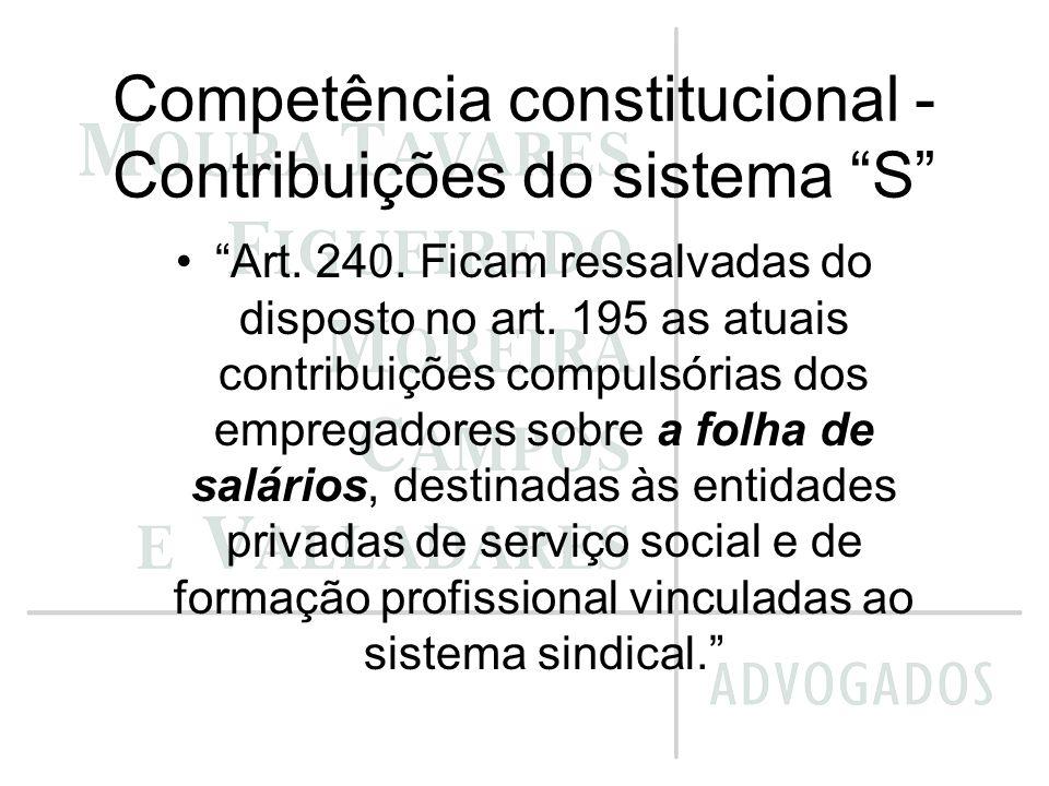 Competência constitucional - Contribuições do sistema S Art. 240. Ficam ressalvadas do disposto no art. 195 as atuais contribuições compulsórias dos e