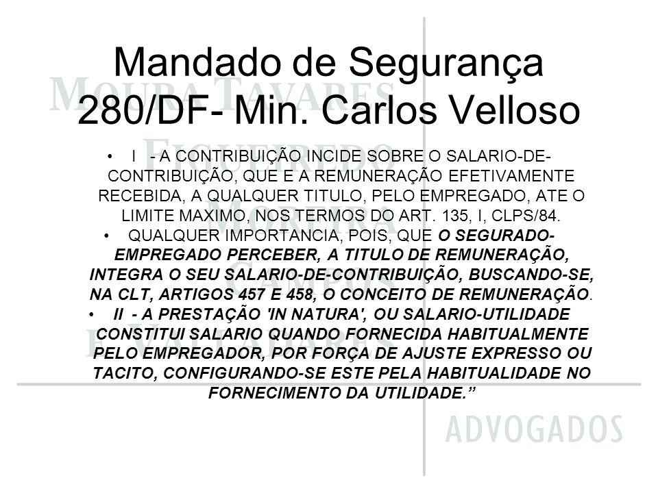 Mandado de Segurança 280/DF- Min. Carlos Velloso I - A CONTRIBUIÇÃO INCIDE SOBRE O SALARIO-DE- CONTRIBUIÇÃO, QUE E A REMUNERAÇÃO EFETIVAMENTE RECEBIDA