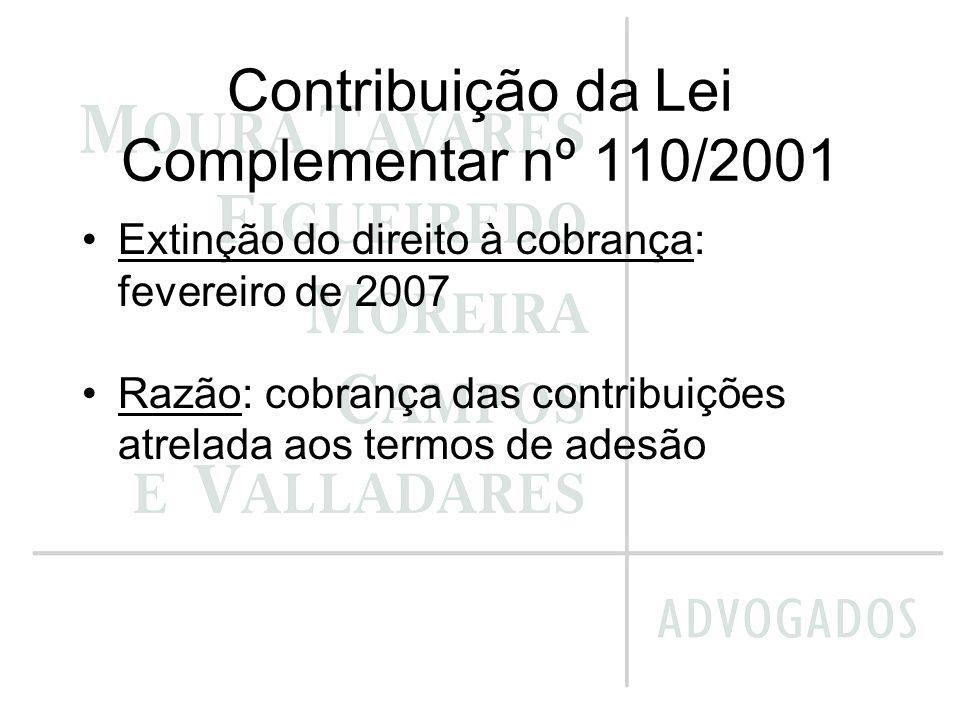 Contribuição da Lei Complementar nº 110/2001 Extinção do direito à cobrança: fevereiro de 2007 Razão: cobrança das contribuições atrelada aos termos d
